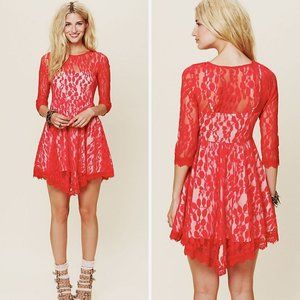 Free People Floral Mesh Lace Dress in Hot Red